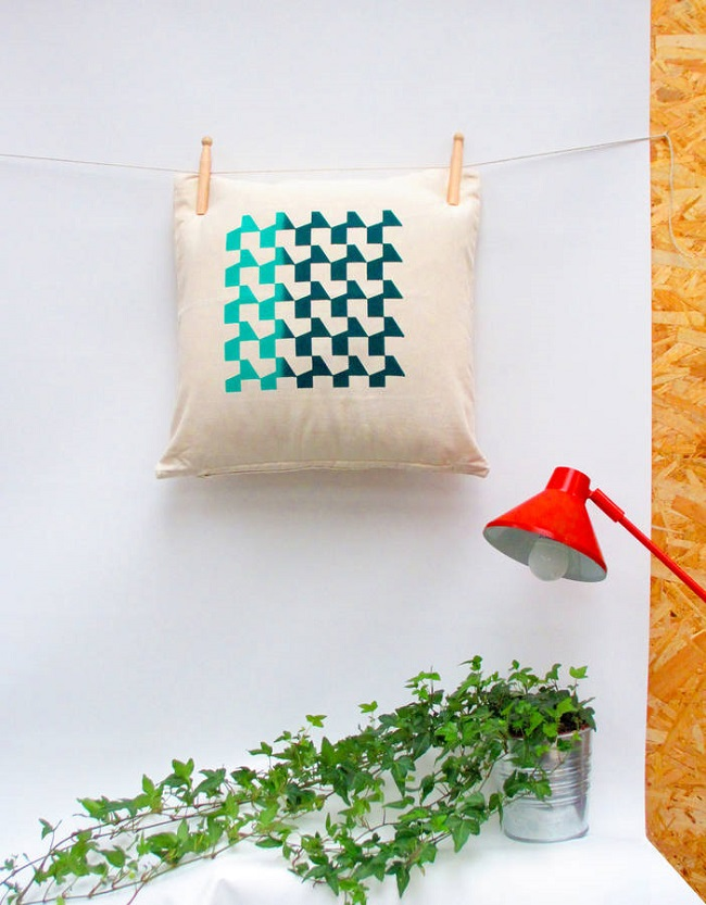 rolfe and wills blue and green geometric cushion