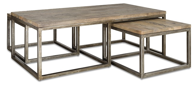 swoon editions smith set of three industrial style nest of coffee tables
