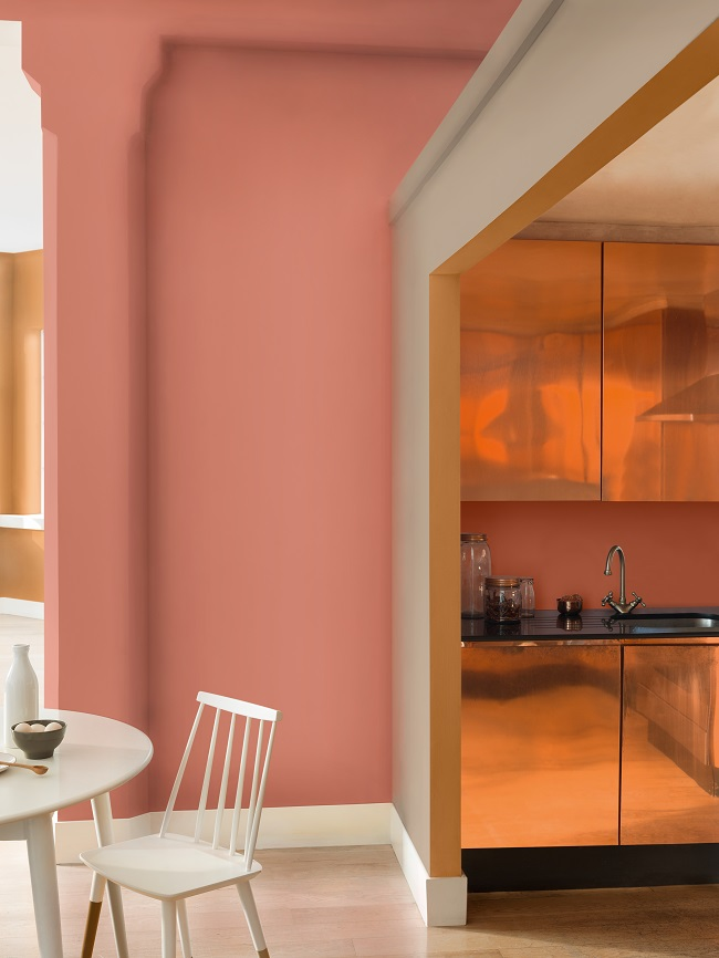 wall paint copper blush with coppr kitchen