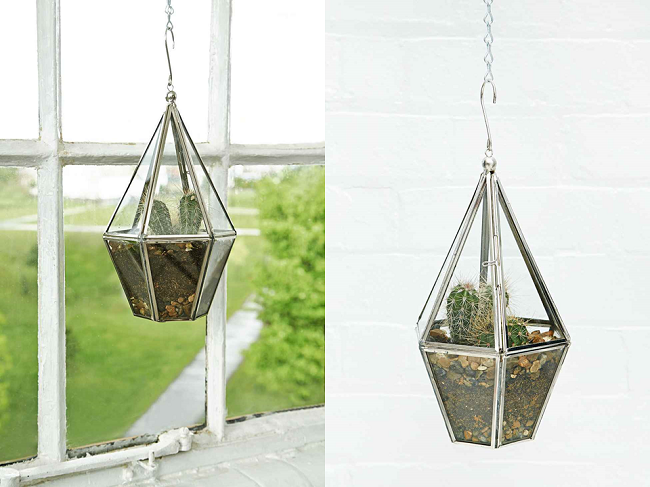 glass plant terrarium gold hanging planter urban outfitters
