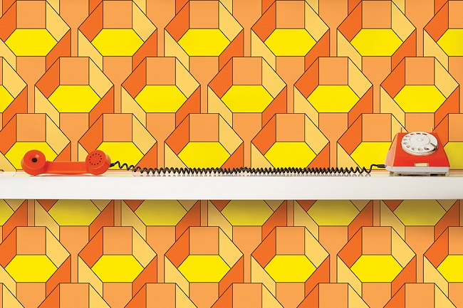 quirk and rescue hexagone wallpaper yellow orange