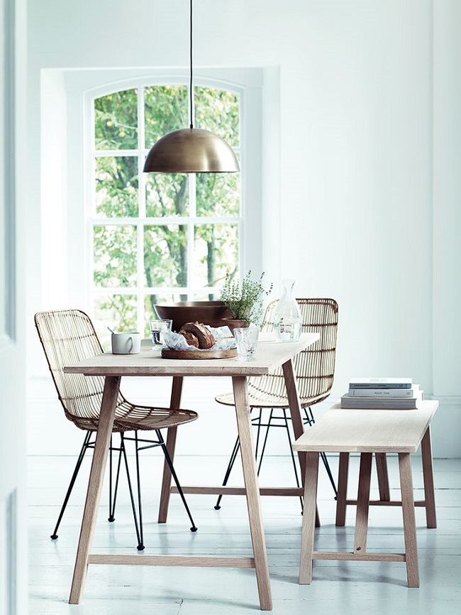 wooden dining tables and benches, raw oak design, cox and cox