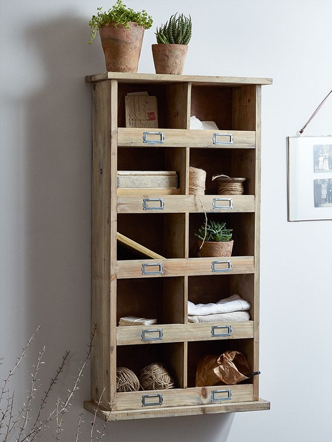 vintage style storage units, ten cubby hole wood