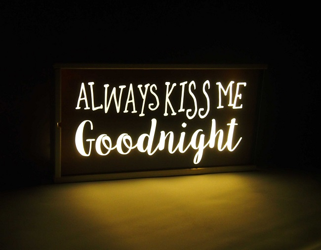 always kiss me goodnight illuminated light box
