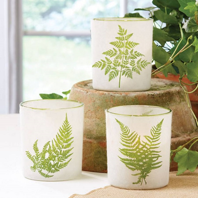fern pattern candle holders