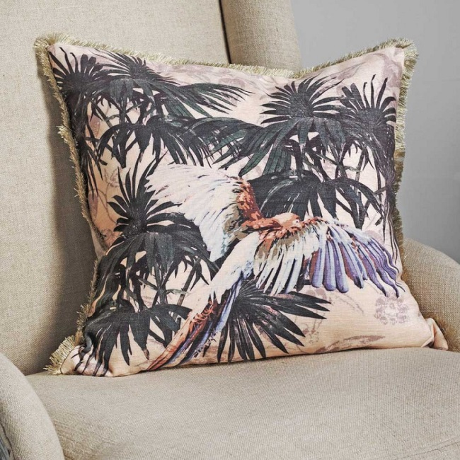 palm leaf pattern, parrot cushion