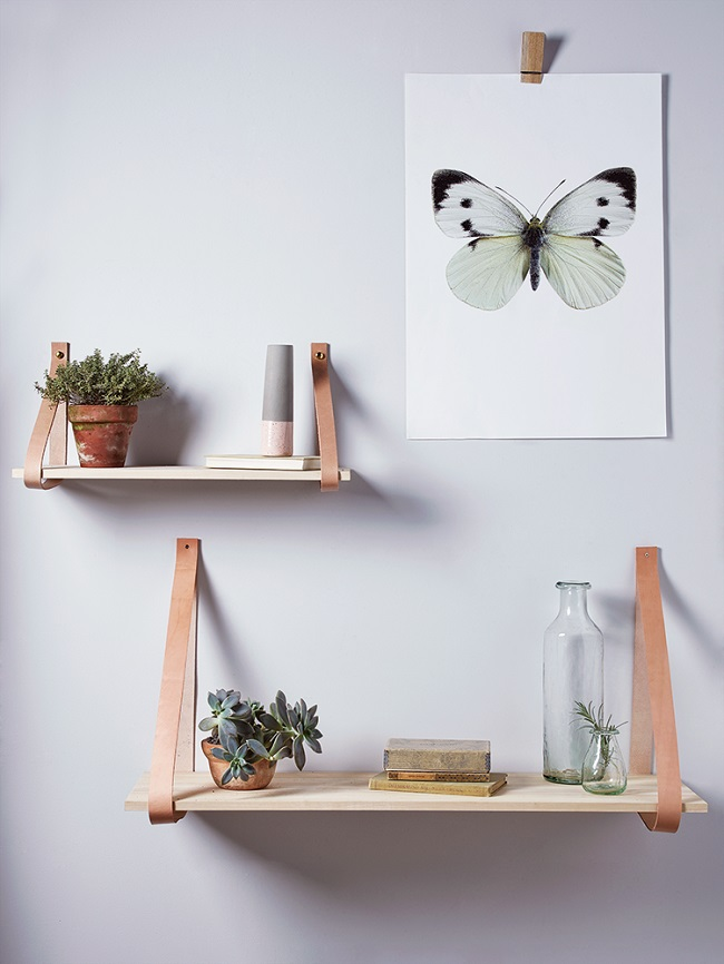 leather and wood, small wall shelf