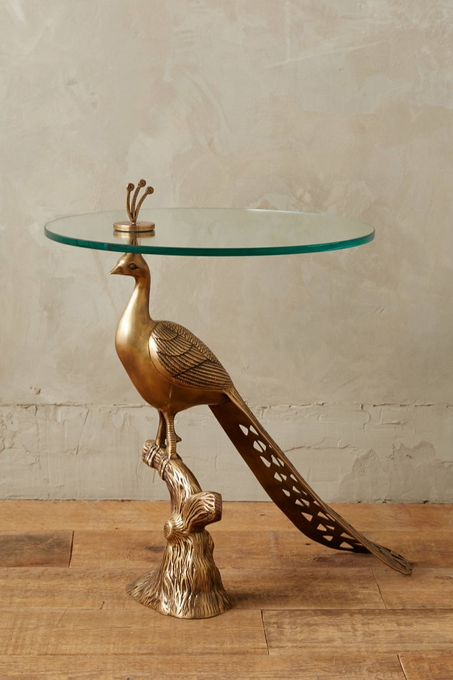 luxury living room ideas, pheasant glass side table