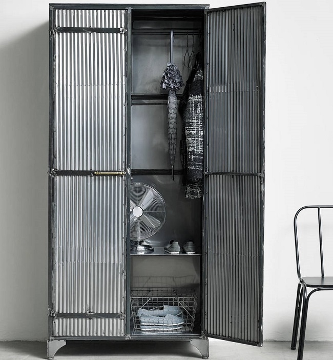 industrial bedroom furniture, corrugated iron wardrobe
