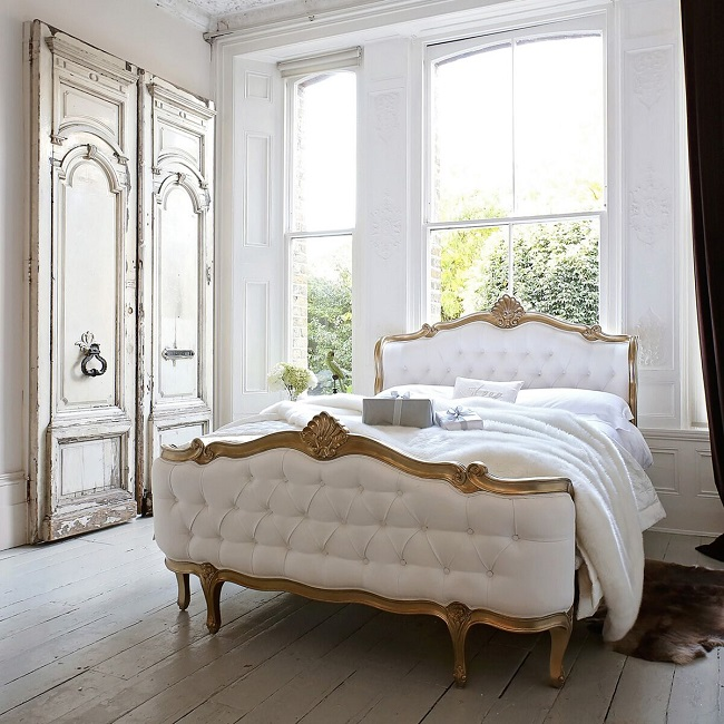 upholstered french beds, champagne gold shell