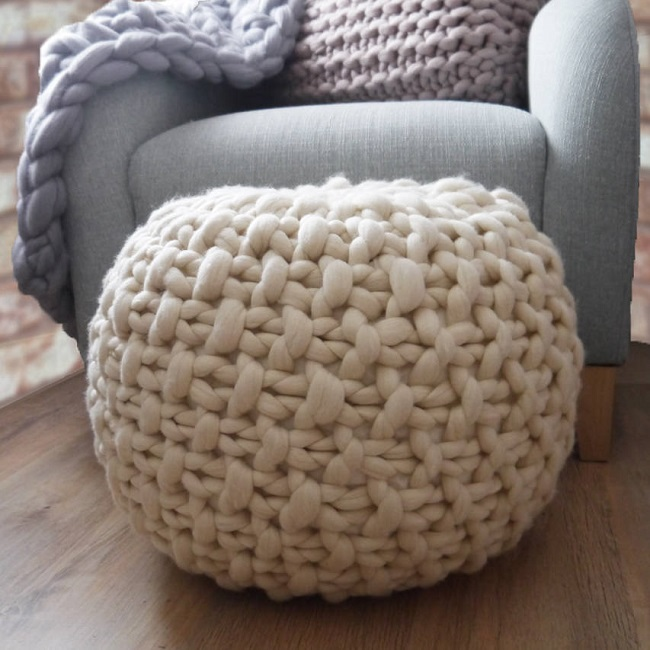 hygge living room ideas, knitted footstool