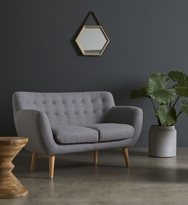 grey fabric two seater sofas, mimi, swoon editions