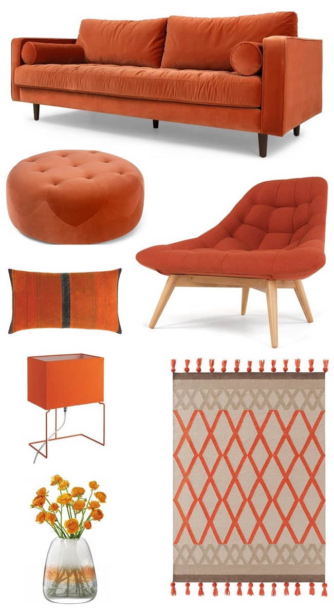 Beautiful burnt orange living room ideas homegirl london - Burnt orange feature wall living room ...
