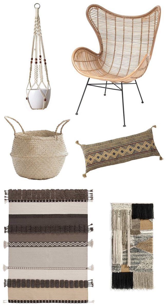 natural earthy bohemian living room ideas moodboard
