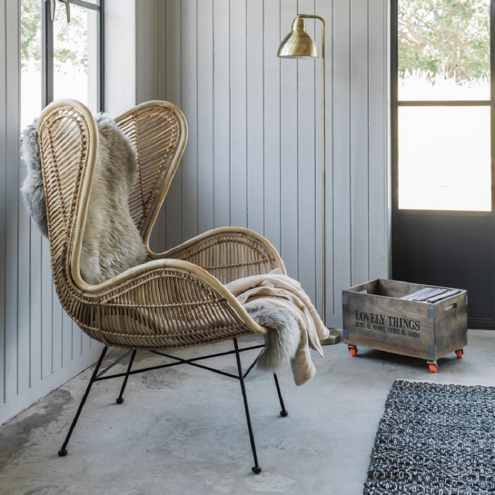 indoor natural woven rattan armchairs