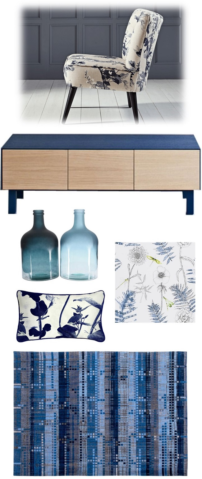 blue living room ideas mood board