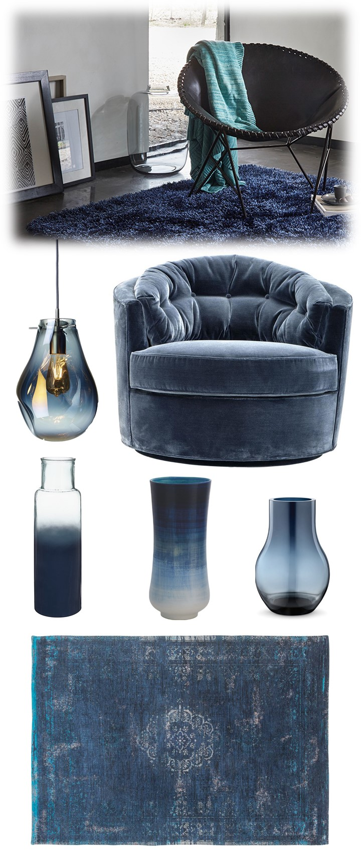 faded blue living room ideas, moodboard