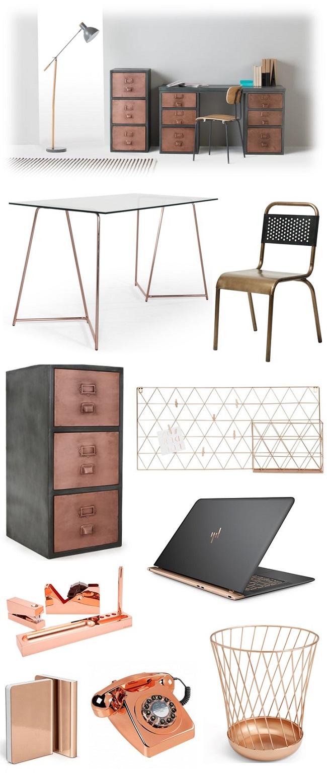 cool copper colour home office ideas, moodboard