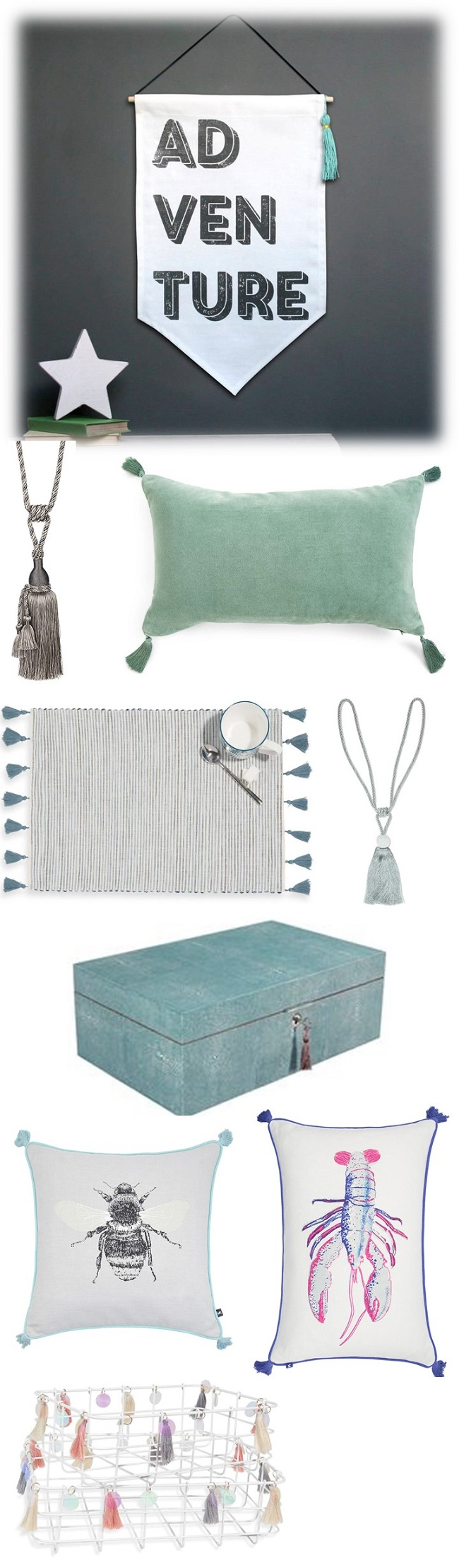 embellished tassel home accessory trend, moodboard