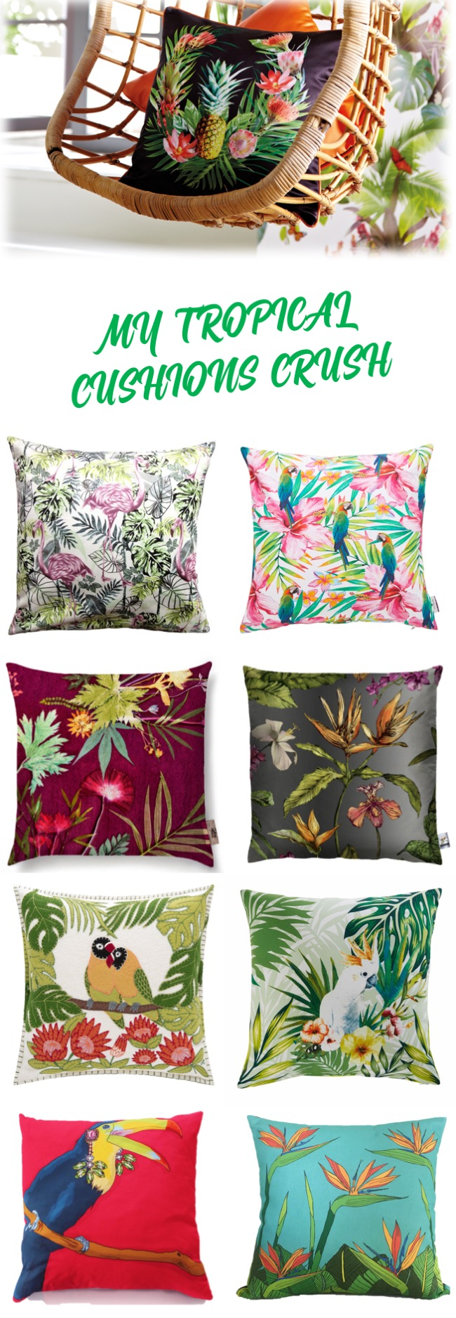 crazy about totally tropical cushions mood board