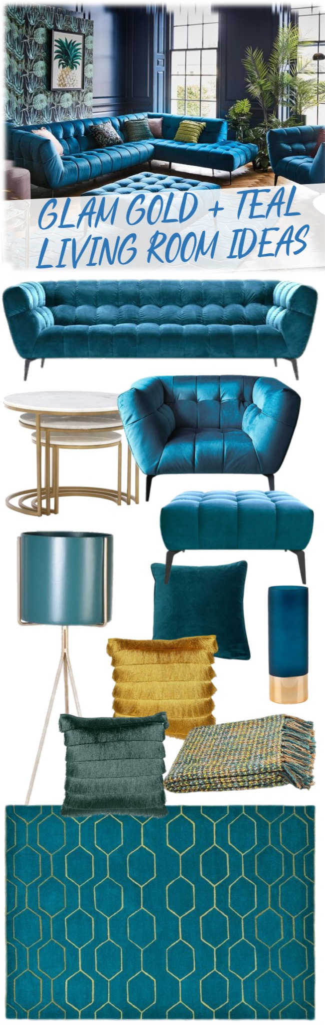 glam gold and teal living room ideas mood board