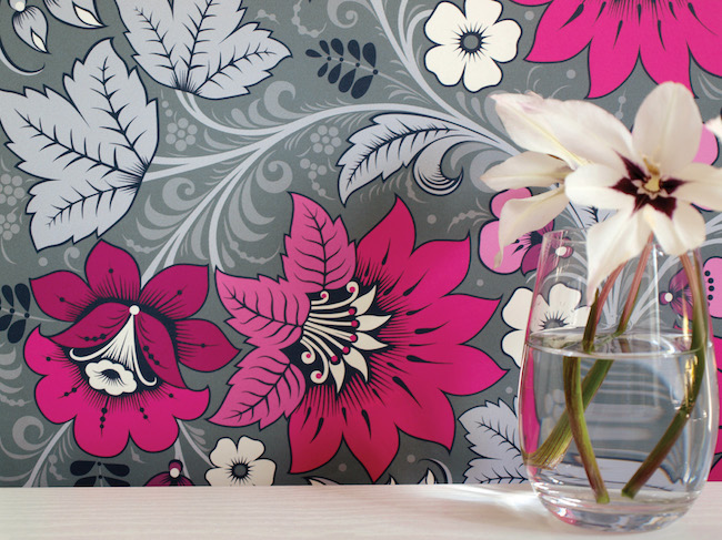olenka design wallpaper inspired by russian folk art, milana hot pink grey
