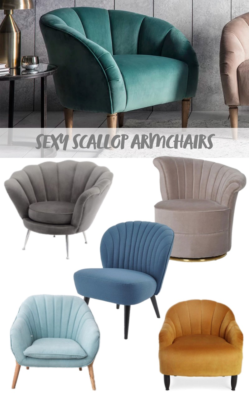 sexy scallop back velvet armchairs mood board