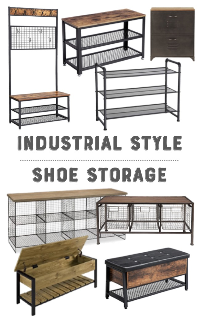 industrial style shoe storage solutions mood board