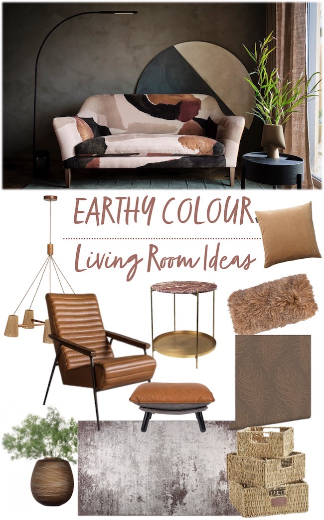 earthy colour living room ideas mood board