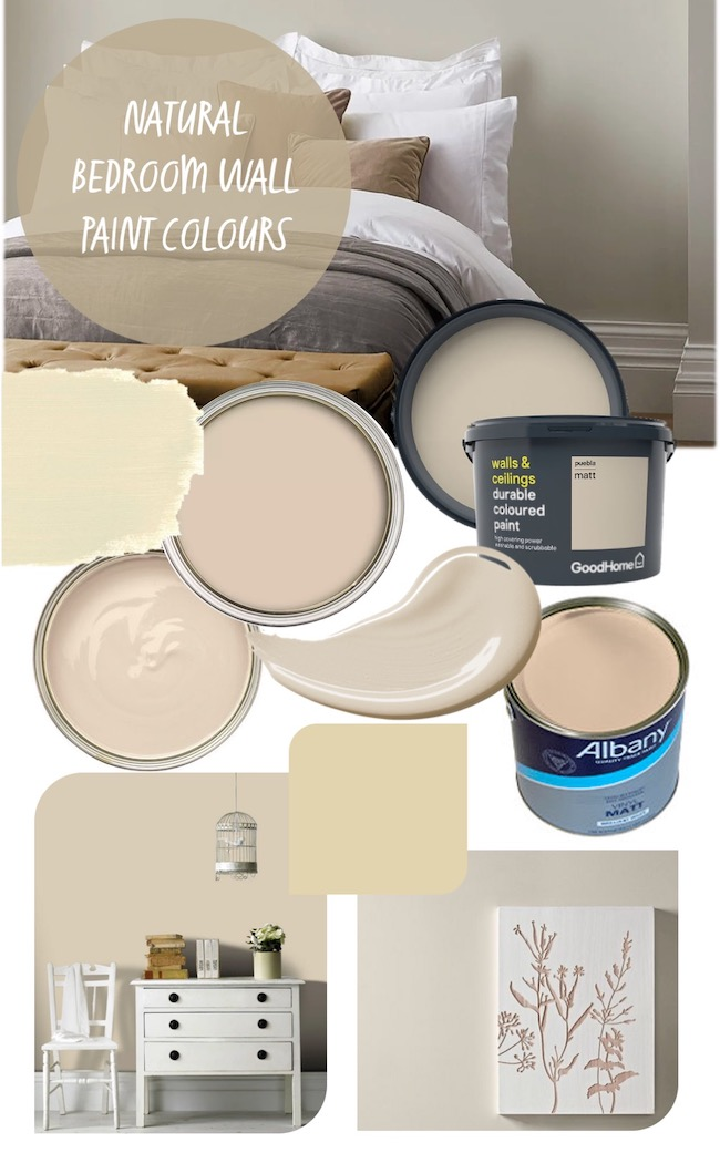natural bedroom wall paint colours mood board