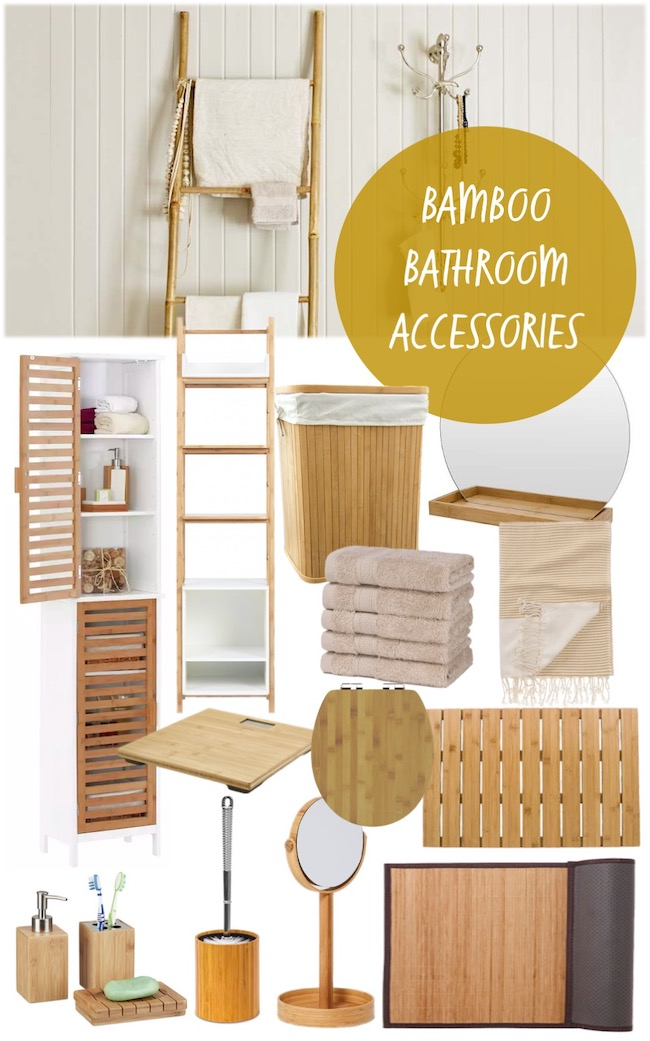 natural looking bamboo bathroom accessories mood board
