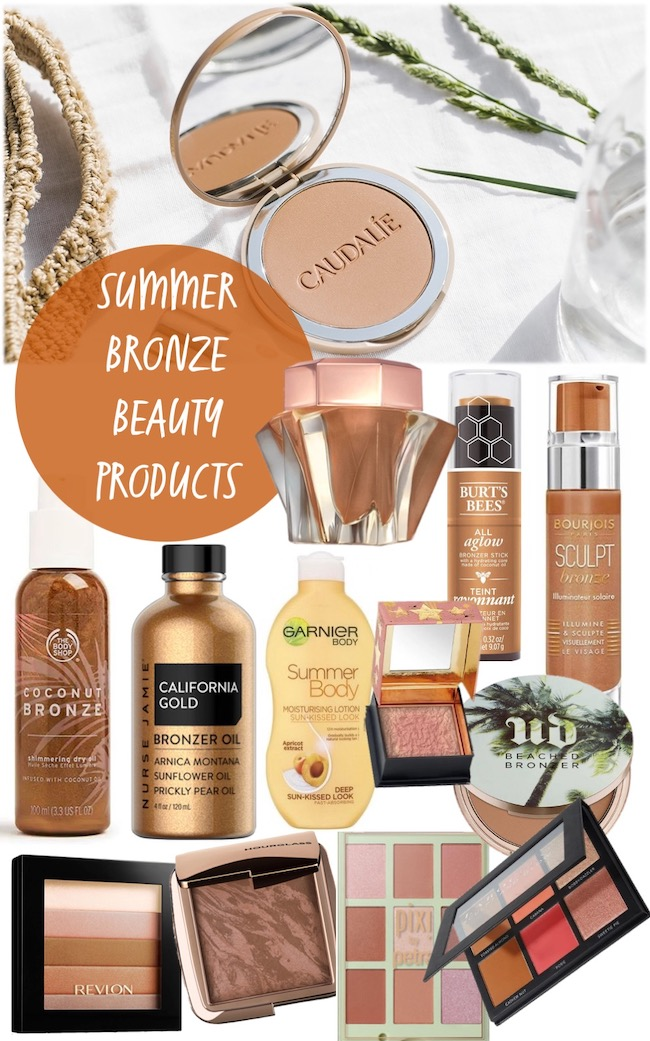 summer sun kissed bronzing beauty products mood board