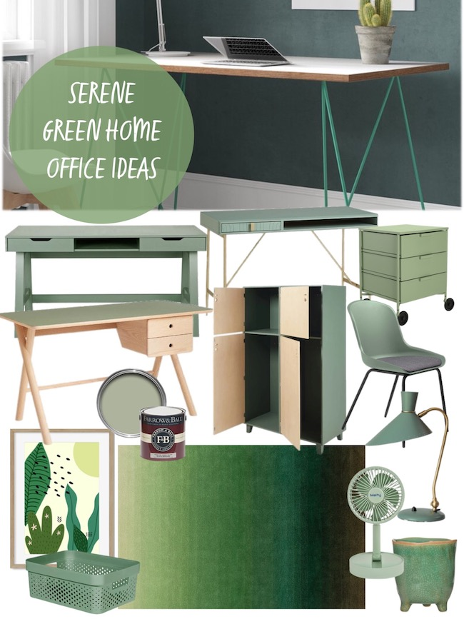 serene green home office ideas moodboard