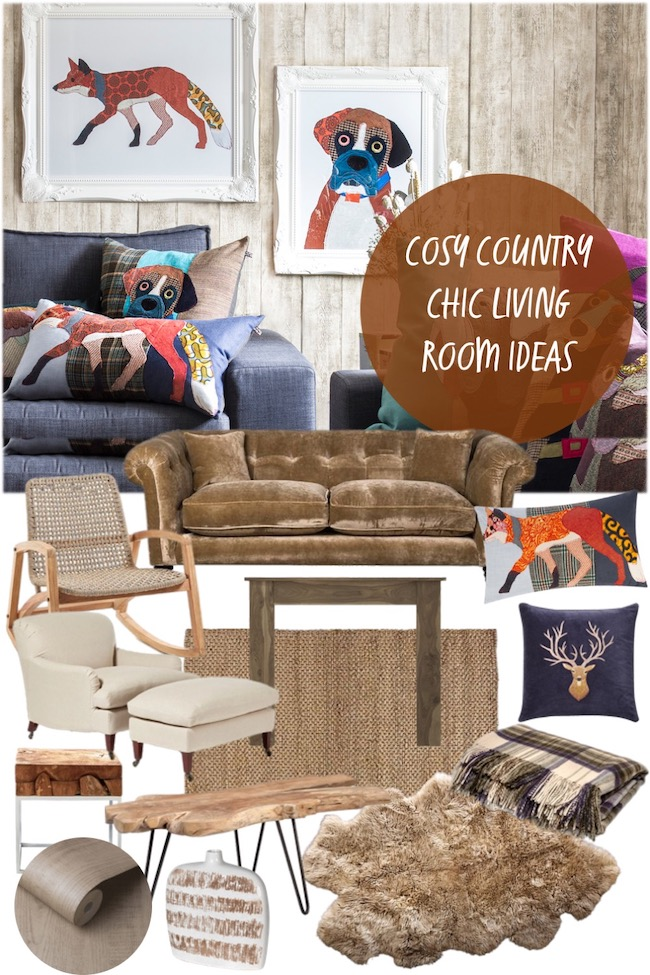 cosy country chic living room ideas mood board