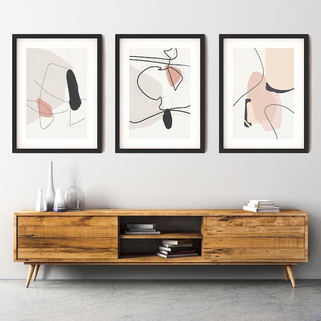 the contemporary drawings set of three abstract house
