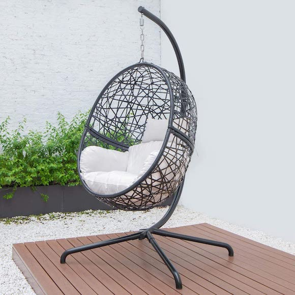 hanging egg chair swing from harrier at amazon uk on decking